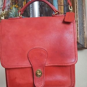 Coach red leather crossbody bag
